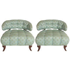 Pair of Grosfeld House Tufted Slipper Chairs