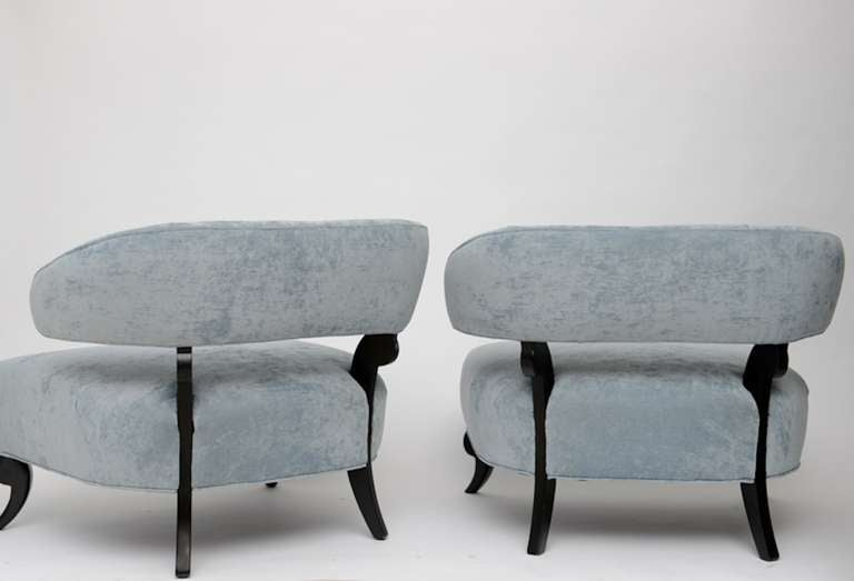 Pair of Grosfeld House Tufted Slipper Chairs For Sale 3