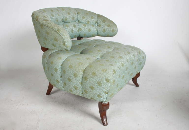Hollywood Regency Pair of Grosfeld House Tufted Slipper Chairs For Sale