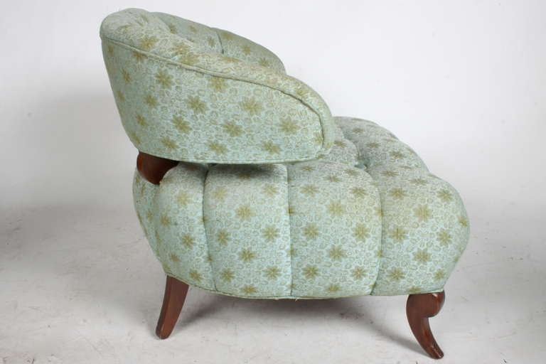 Pair of Grosfeld House Tufted Slipper Chairs In Good Condition For Sale In St. Louis, MO
