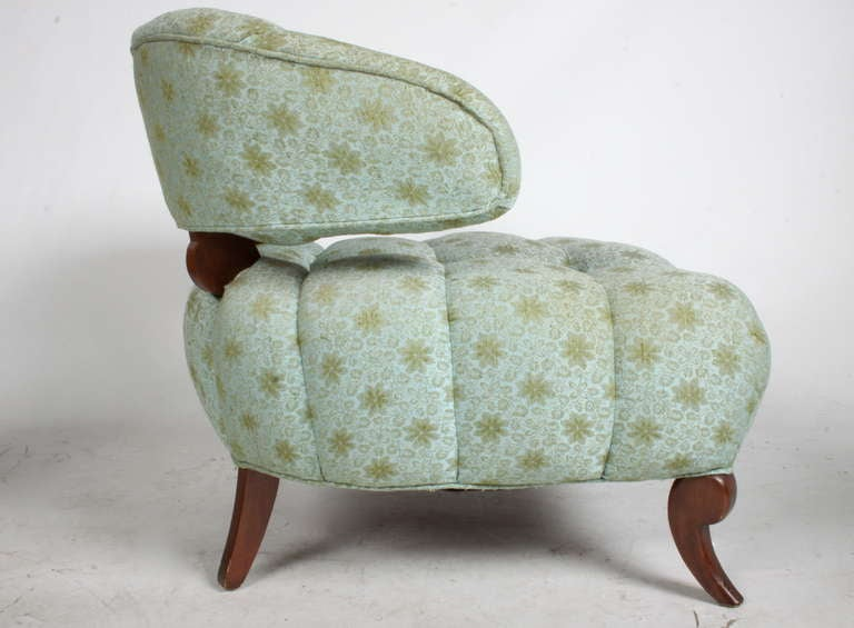 American Pair of Grosfeld House Tufted Slipper Chairs For Sale