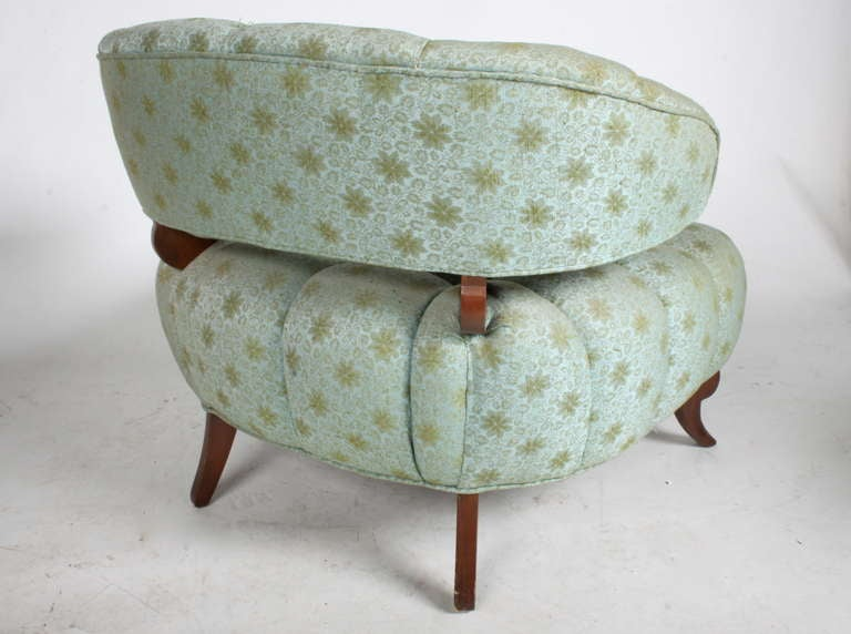 Mid-20th Century Pair of Grosfeld House Tufted Slipper Chairs For Sale