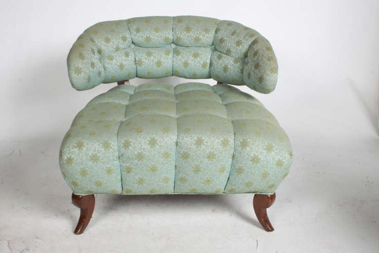 Wood Pair of Grosfeld House Tufted Slipper Chairs For Sale