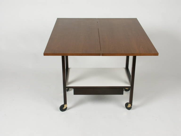 Mid-Century Modern Edward Wormley for Dunbar Flip-Top Serving or Bar Cart For Sale