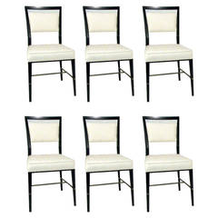 Set of Eight Paul McCobb Dining or Side Chairs with Brass Stretchers