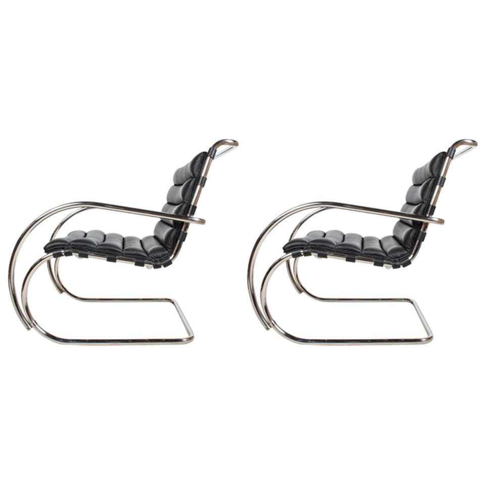 Pair of Black Leather Mies Van Der Rohe MR Lounge Chairs