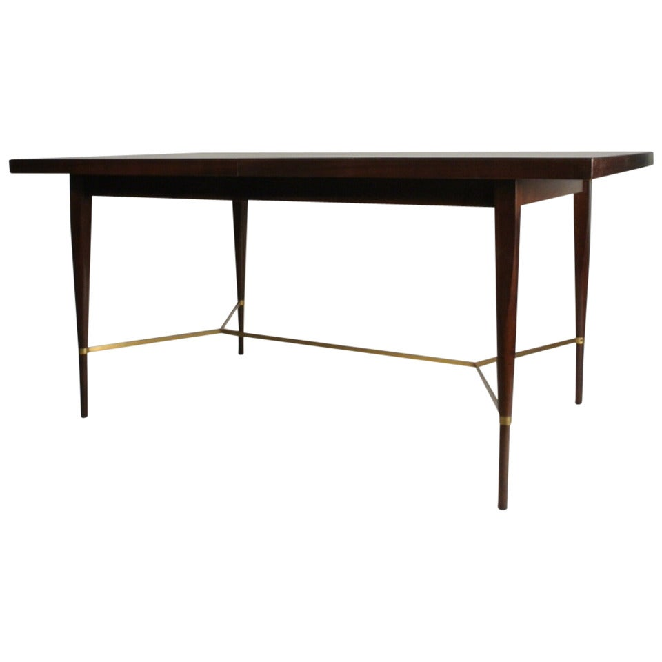 Paul mccobb dining table with brass x cross support at 1stdibs for Dining table support