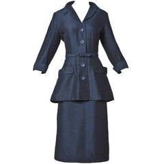 Vintage 1950s 50s Navy Wool & Silk Skirt Suit 3-Piece Ensemble