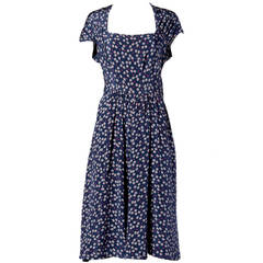Vintage 1930s 30s Hand Screen-Printed Floral Silk Dress