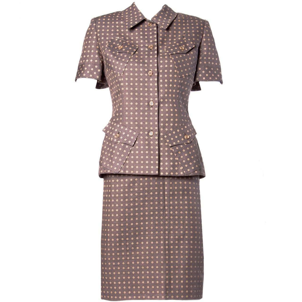 Bill Blass Unworn Deadstock Vintage Wool Jacket + Skirt Suit For Sale