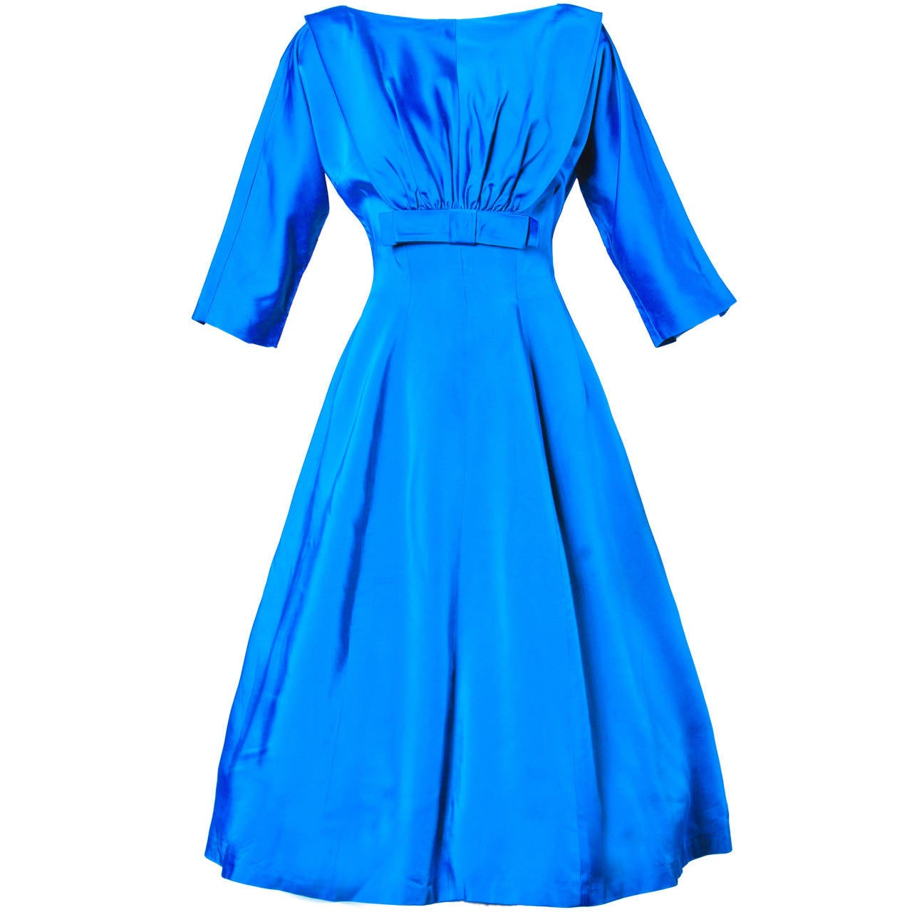 Vintage 1960s 60s Blue Satin Full Sweep Party Dress with Bow 1