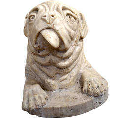 Solid Marble Carving of a Bulldog or Pug Dog with Character