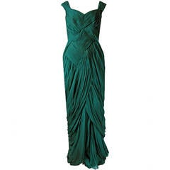 1954 Jean Desses Haute-Couture Seafoam Green Pleated Silk-Chiffon Evening Gown