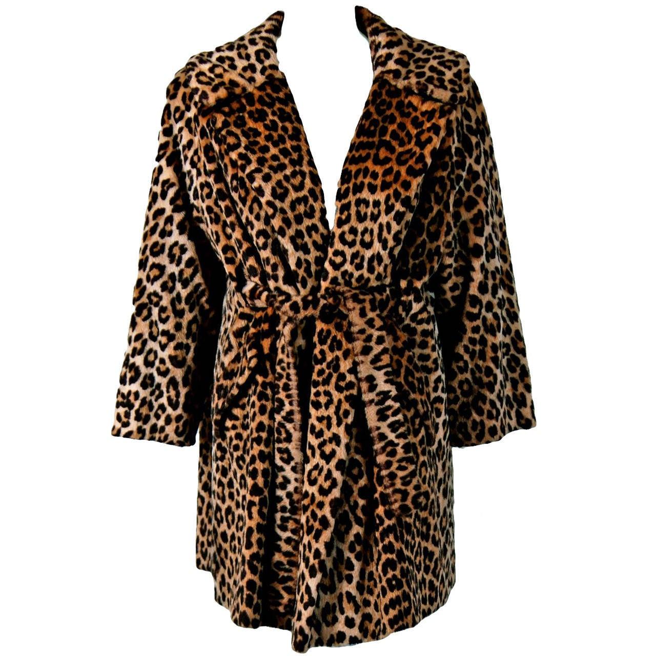 73715de44603 1960's Gorgeous Leopard Animal-Print Faux Fur Belted Trench Coat Jacket For  Sale
