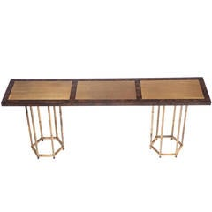 Burl and Brass Double-Pedestal Console Table