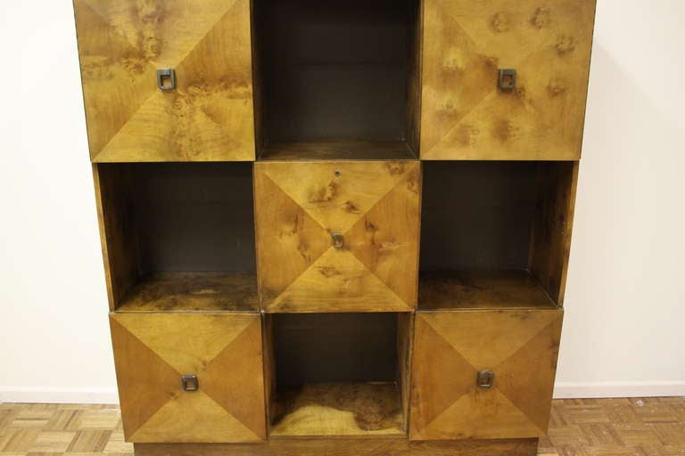 Mid-Century Modern Johan Tapp for Gump Burled Wood Cabinet For Sale