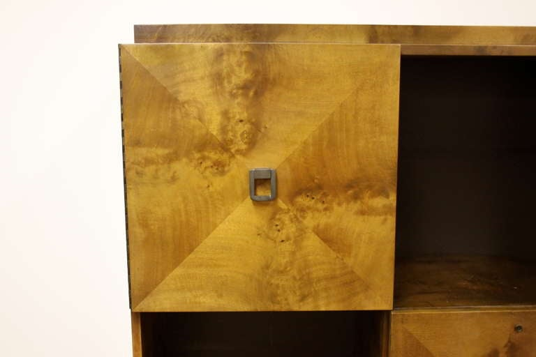 American Johan Tapp for Gump Burled Wood Cabinet For Sale