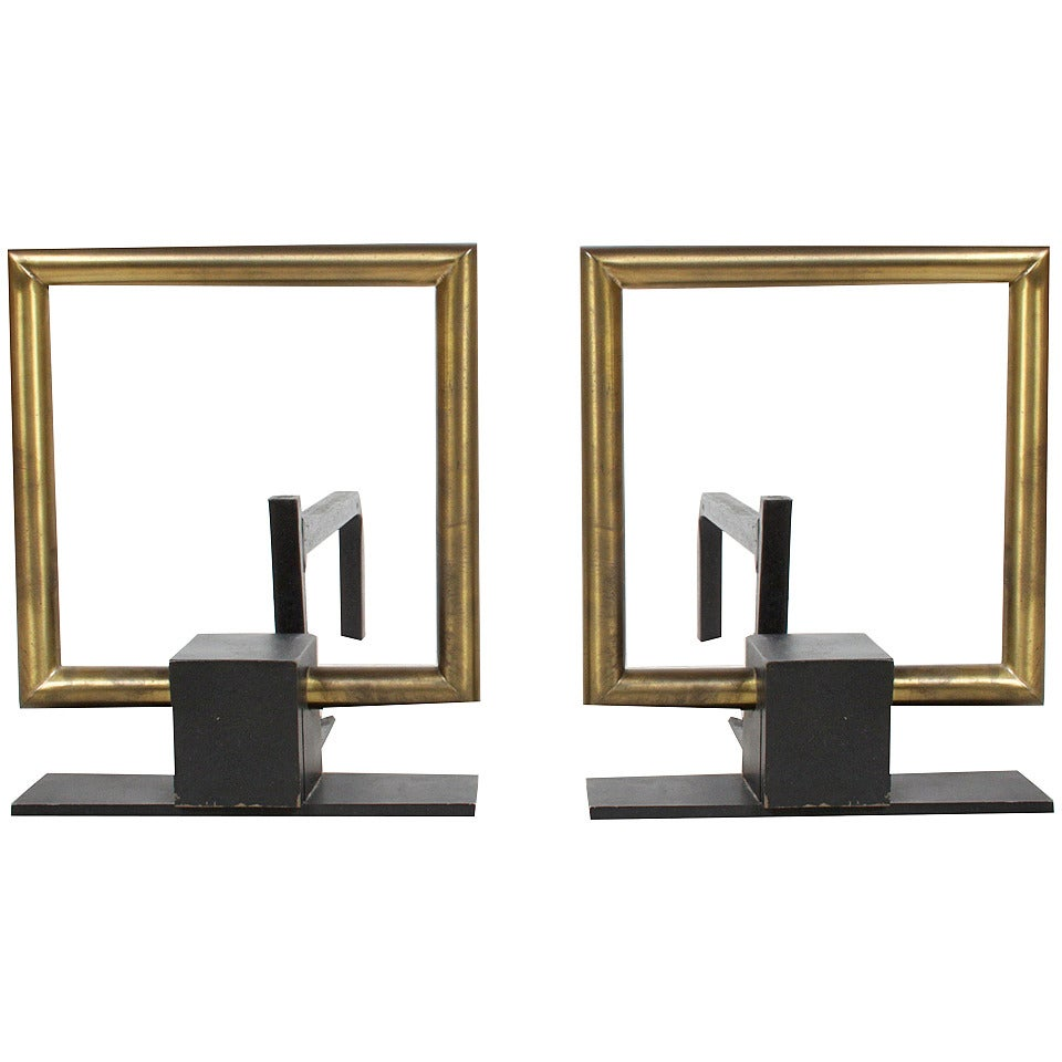 Pair Of Open Square Brass And Iron Andirons At 1stdibs