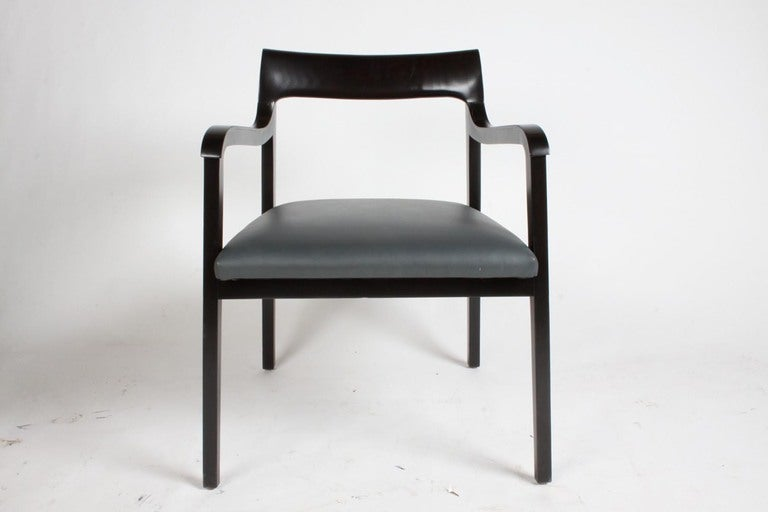 Riemerschmid chairs and black lacquer finish. Price includes reupholstery C.O.M. Measures: Arm height 26