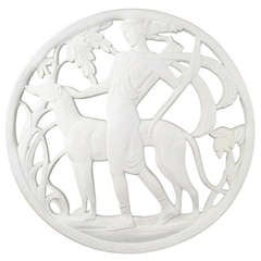 Art Deco Revival Plaster Medallion of Diana the Huntress