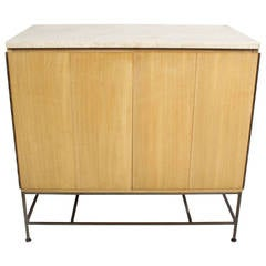 Paul McCobb Accordion Door Cabinet with Travertine Top