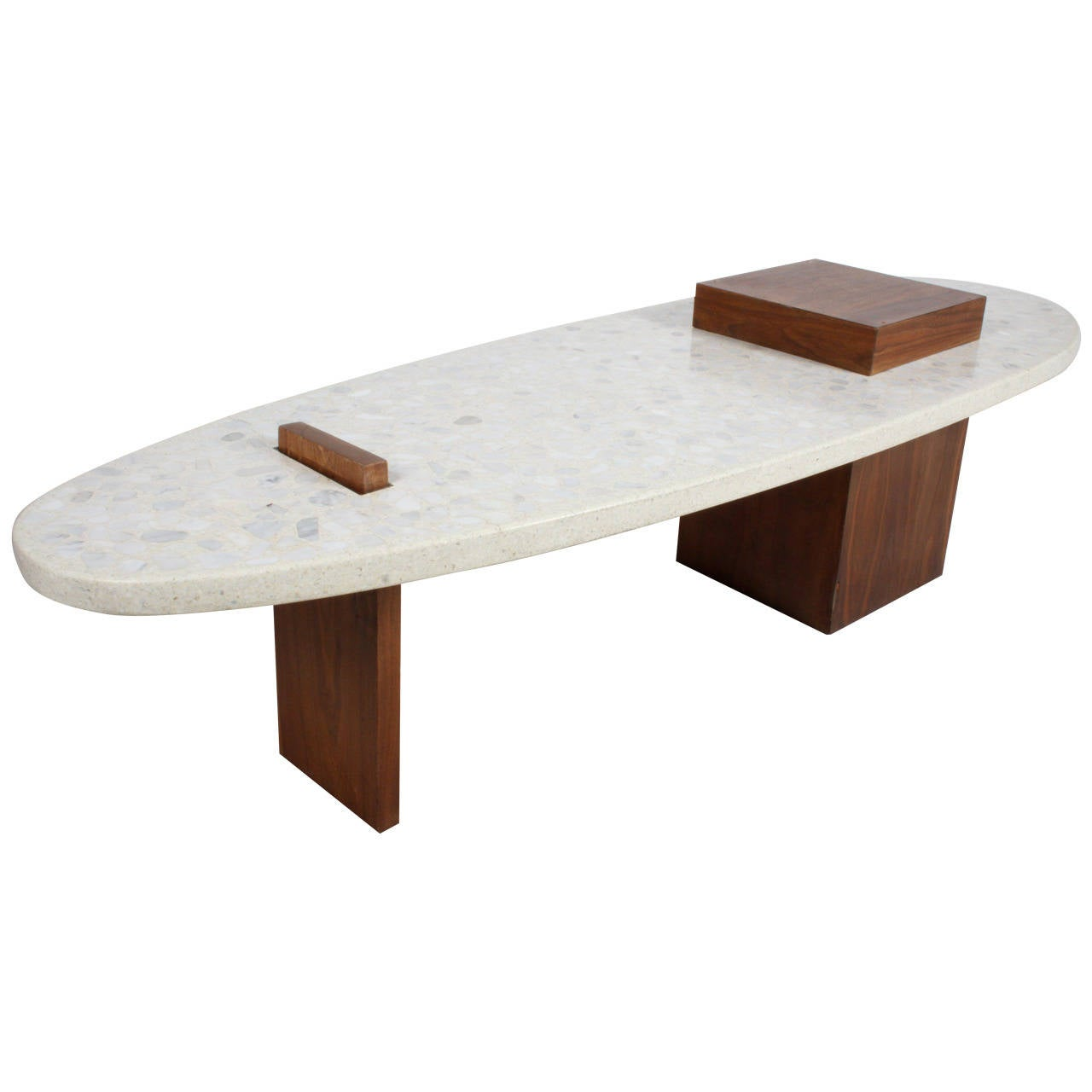 Harvey Probber Style Terrazzo And Walnut Coffee Table At