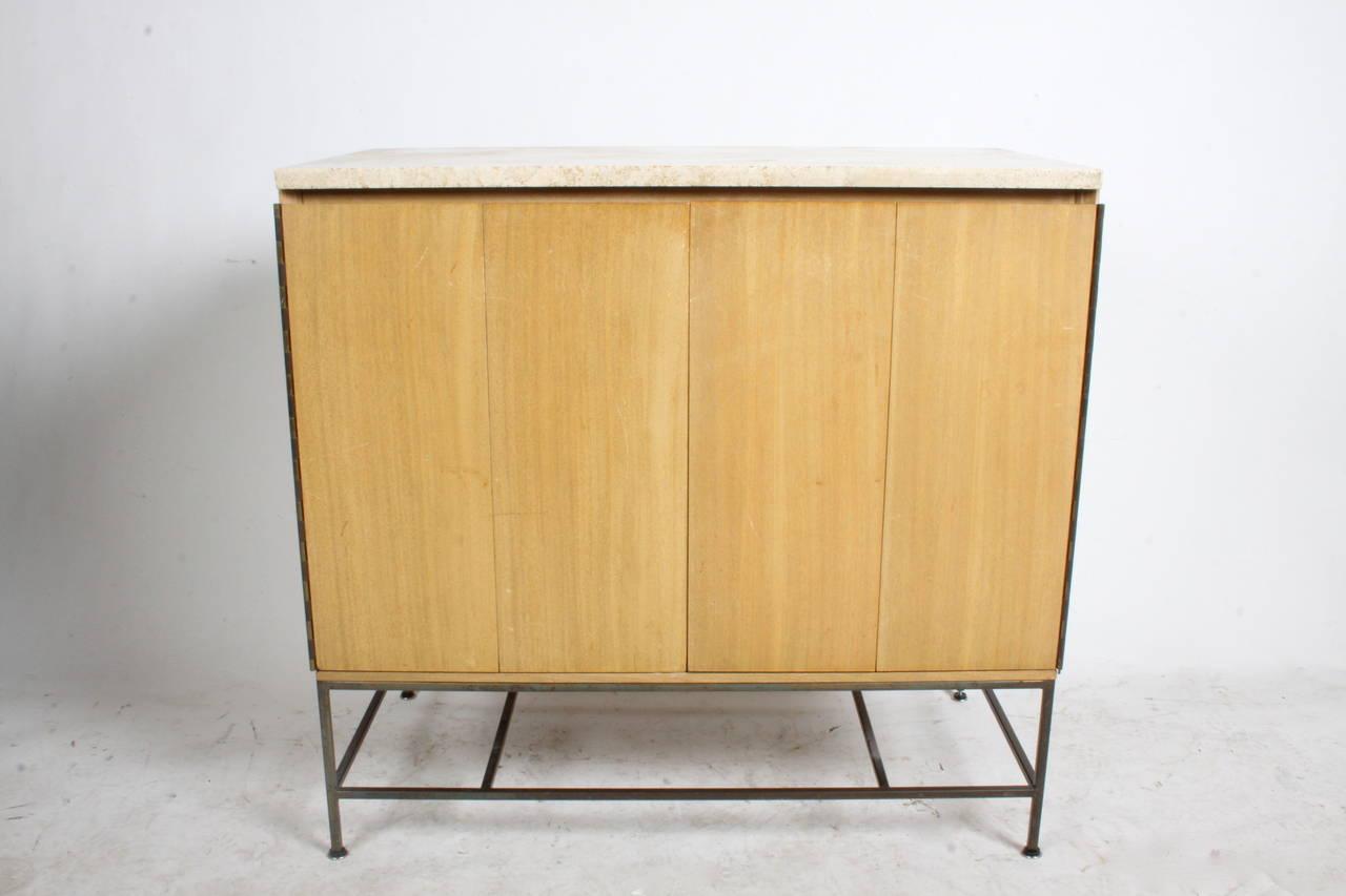Paul mccobb accordion door cabinet with travertine top at 1stdibs - Accordion kitchen cabinet doors ...