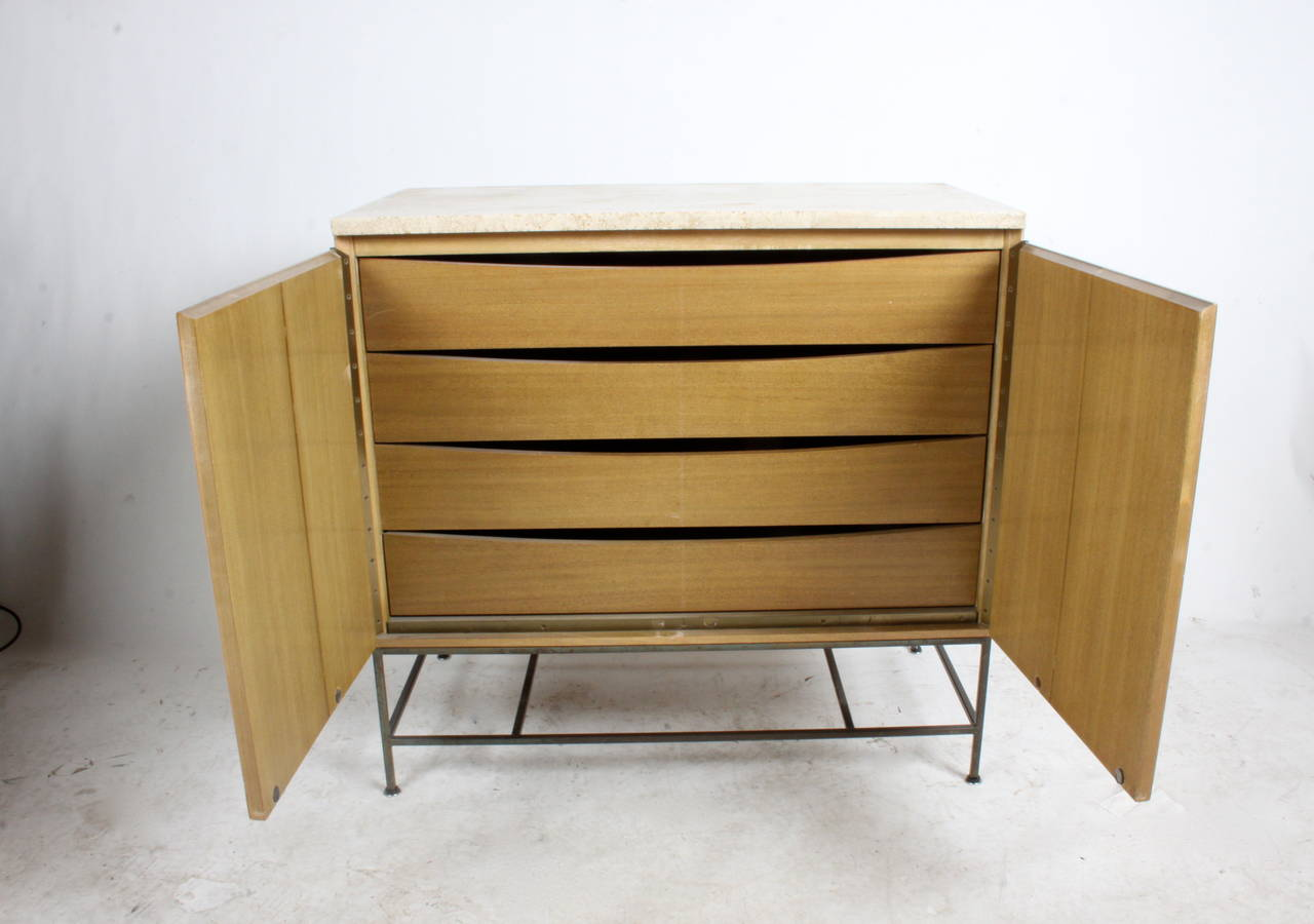 Paul Mccobb Accordion Door Cabinet With Travertine Top For Sale At 1stdibs