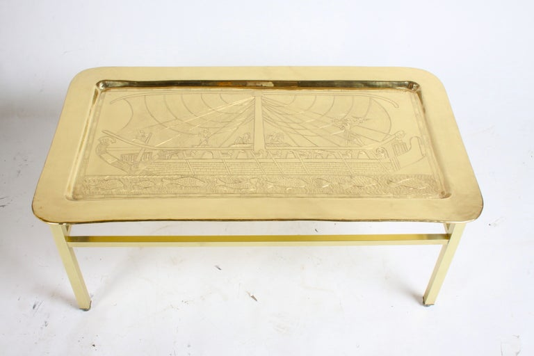 1960 39 s egyptian themed brass tray cocktail table for sale