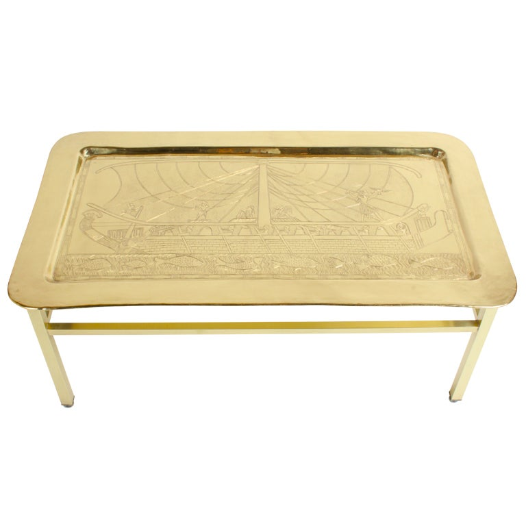 1960 39 S Egyptian Themed Brass Tray Cocktail Table For Sale At 1stdibs