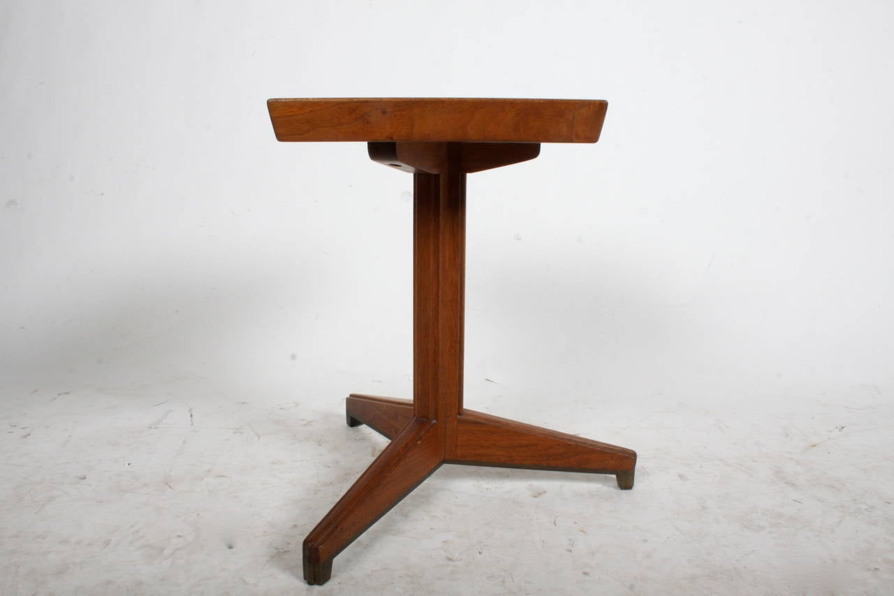 Brass Janus Side Table by Edward Wormley for Dunbar with Natzler Tiles For Sale