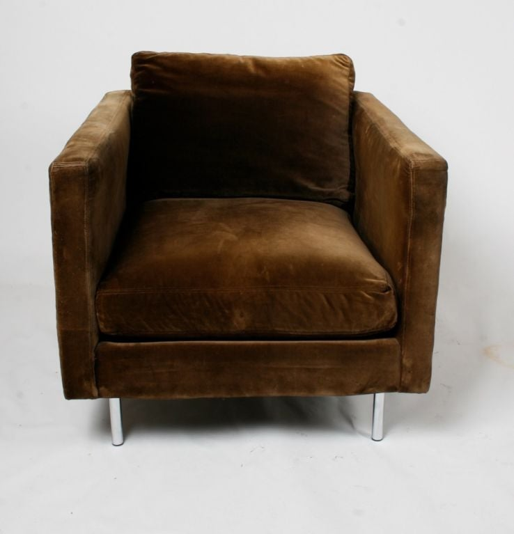 Upholstery Pair of Milo Baughman Club Chairs For Sale