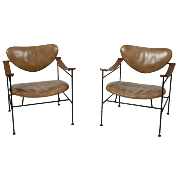Pair Of Luther Conover Iron And Leather Arm Chairs 1