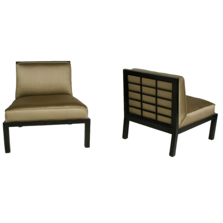 Pair of Baker Far East Slipper Chairs Designed by Michael Taylor
