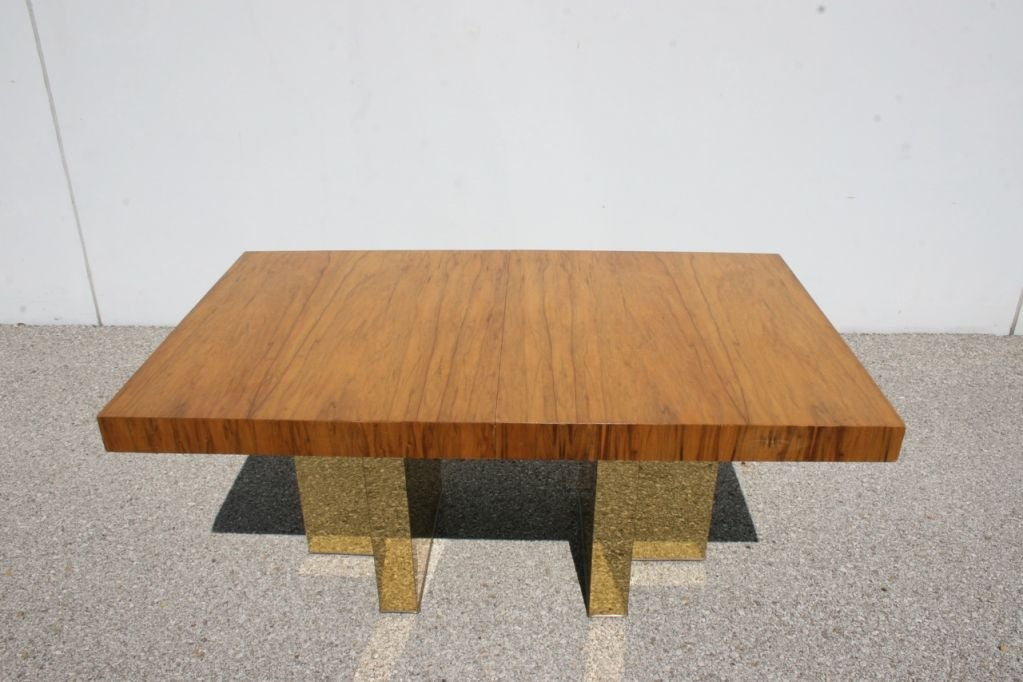 Milo Baughman Exotic Wood Top Dining Table With Metal Clad