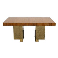 Milo Baughman exotic wood top dining table with metal clad base