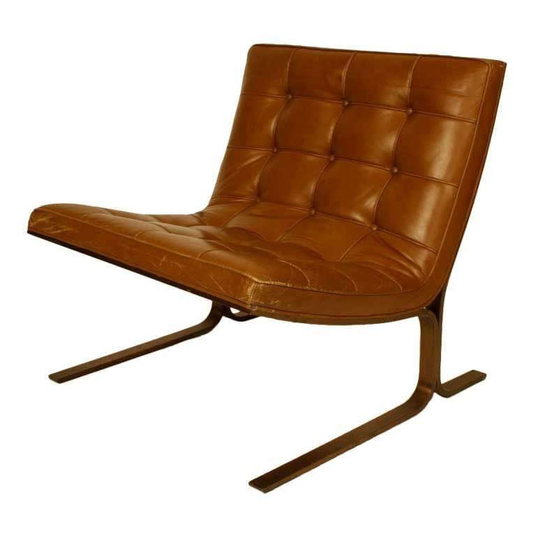 Pair of Cantilever Nicos Zographos Bronze Base Lounge Chairs CH28