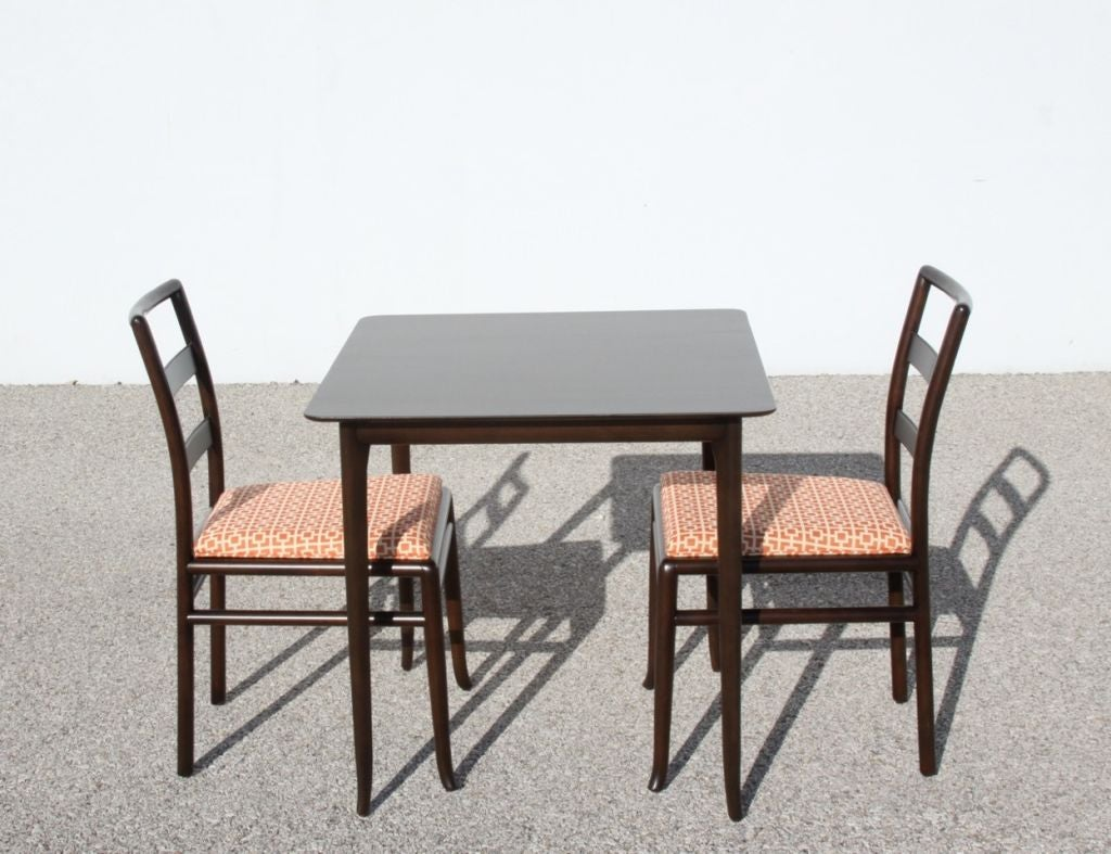 T H Robsjohn Gibbings Game Table And Two Side Chairs For