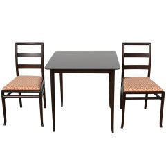 T. H. Robsjohn-Gibbings Game Table and Two Side Chairs