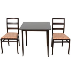 T. H. Robsjohn-Gibbings for Widdicomb Game Table and Two Side Chairs - Espresso