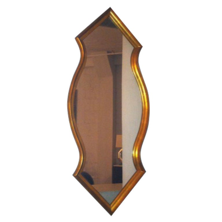 Midcentury Gold Leaf Mirror