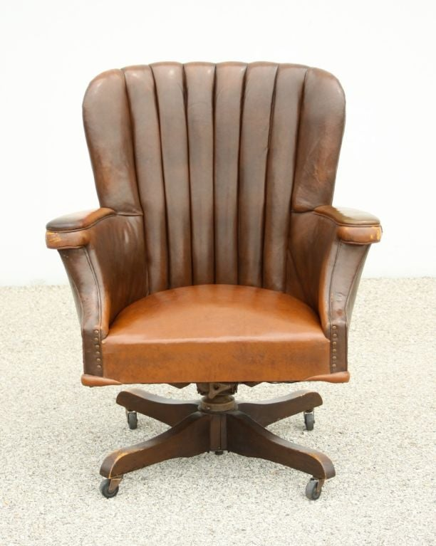 Beautiful Large Vintage Desk Chair With Original Leather Circa 1940u0027s 3