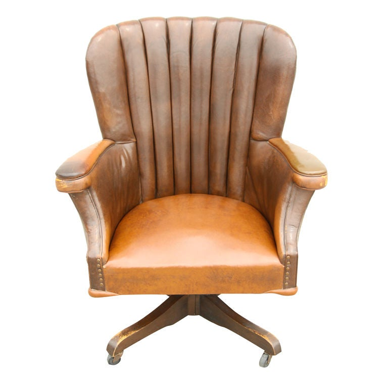 large vintage desk chair with original leather circa 1940 39 s at 1stdibs