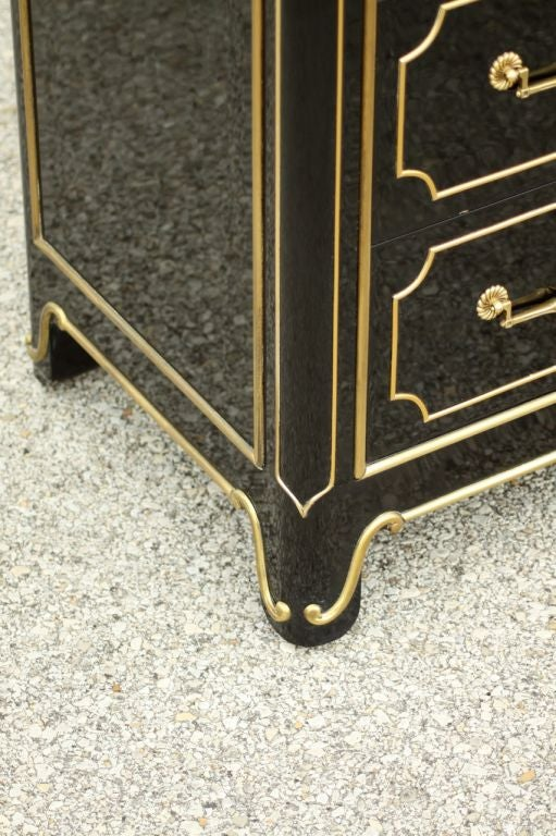 Mastercraft Dark Navy Lacquer chest with brass ormalu 5