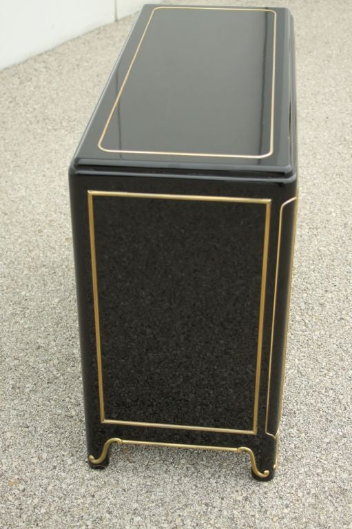 Mastercraft Dark Navy Lacquer chest with brass ormalu 7