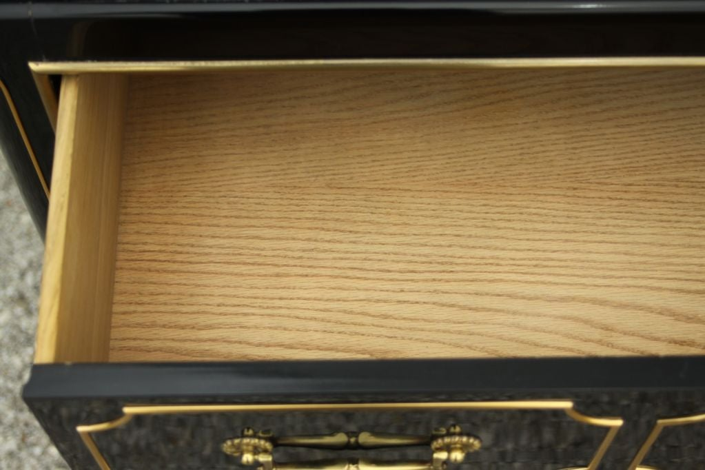 Mastercraft Dark Navy Lacquer chest with brass ormalu 9