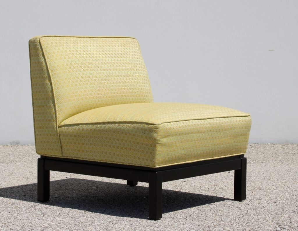 Upholstery Pair of Midcentury Slipper Chairs For Sale