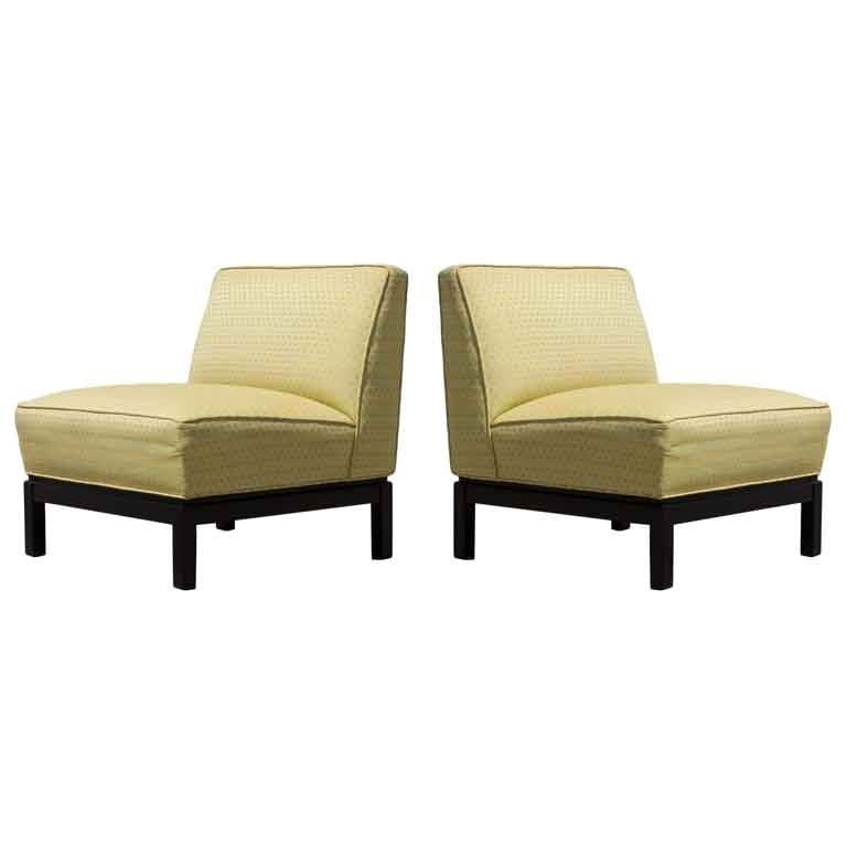 Pair of Mid-Century Modern Slipper Chairs with Ebony Bases