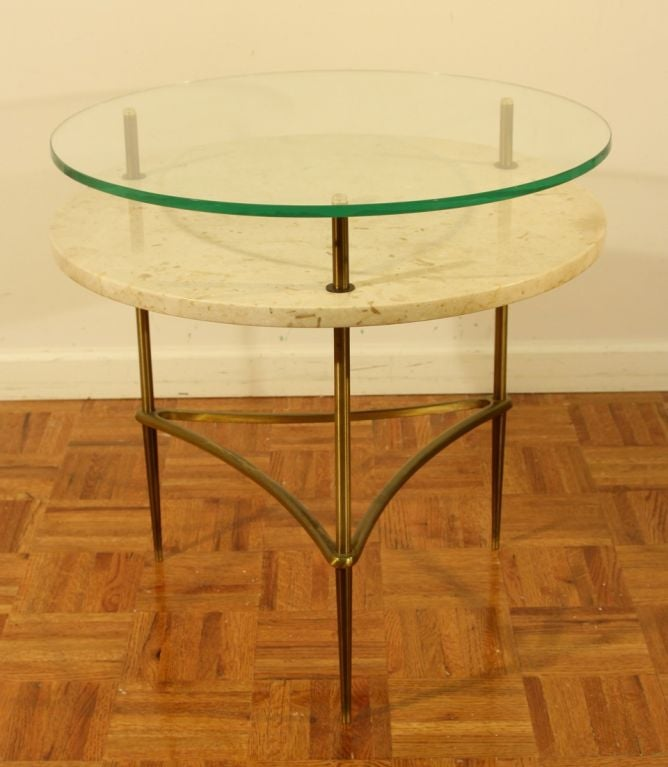 Italian side table with travertine shelf and glass top image 2
