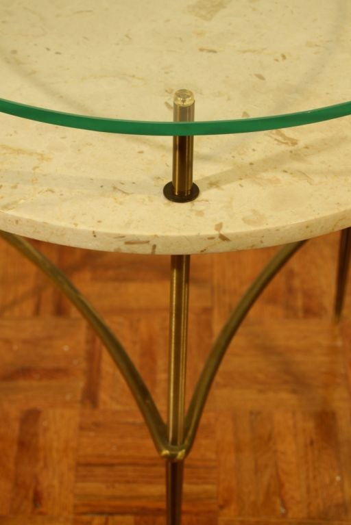 Italian side table with travertine shelf and glass top image 3